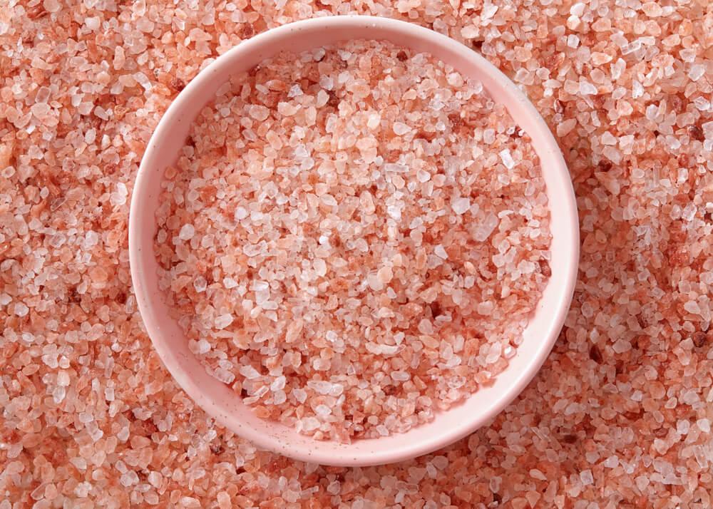 Bowl of pink salt