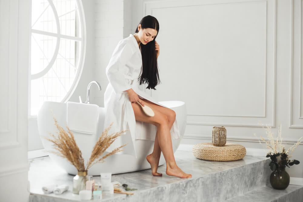 Woman using dry brush
