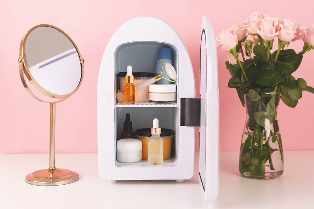 Beauty fridge with skin care products