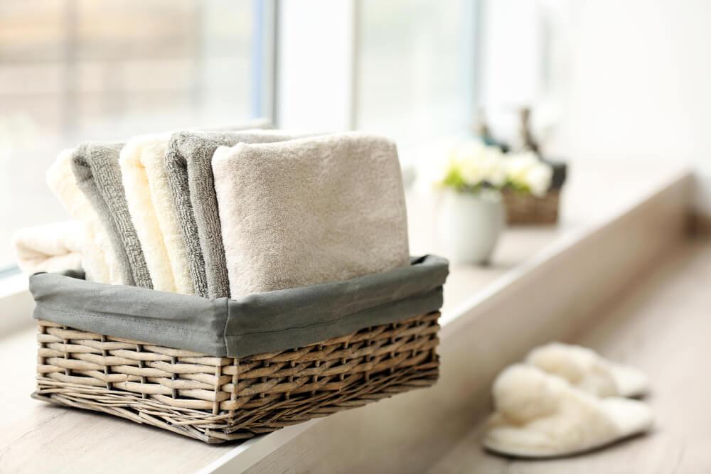 Washcloths in basket