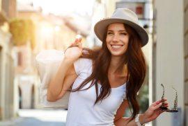 Happy woman on street