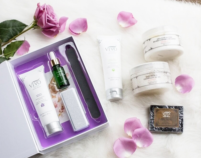 Blogger Katherine Elderidge with a variety of products